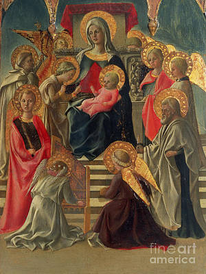 Madonna And Child Enthroned With Angels And Saints Poster