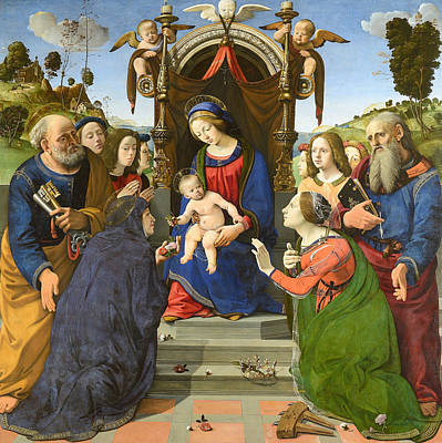 Madonna And Child Enthroned With Saints Poster by Piero di Cosimo