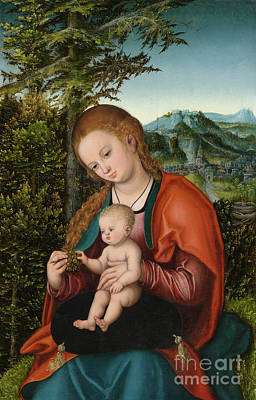 Madonna And Child In A Landscape Poster