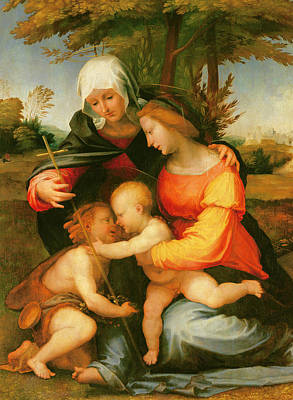 Madonna And Child  Saint Elizabeth And The Infant Saint John The Baptist Poster by Fra Bartolomeo