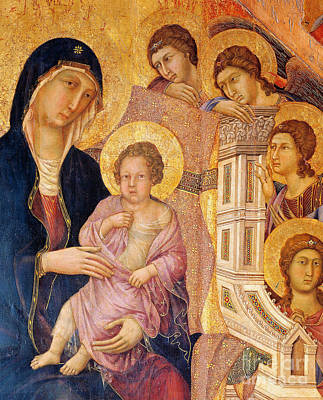Madonna And Child Surrounded By Angels Poster