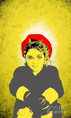 Poster featuring the drawing Madonna On Yellow by Jason Tricktop Matthews