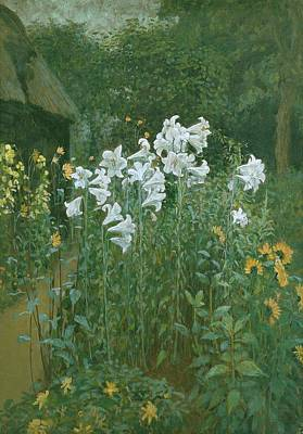 Madonna Lilies In A Garden Poster by Walter Crane
