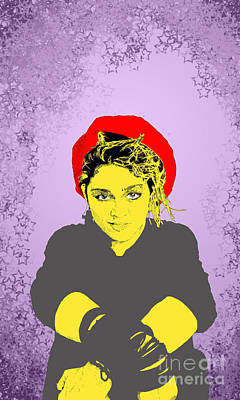 Poster featuring the drawing Madonna On Purple by Jason Tricktop Matthews