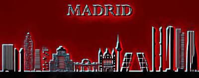 Madrid Skyline Pop Poster