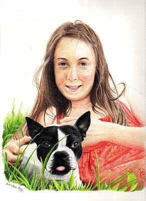 Poster featuring the drawing Madyson And Cooper by Mike Ivey