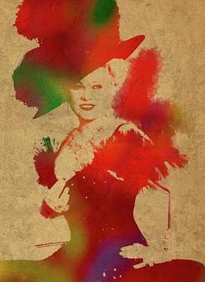 Mae West Watercolor Portrait Poster