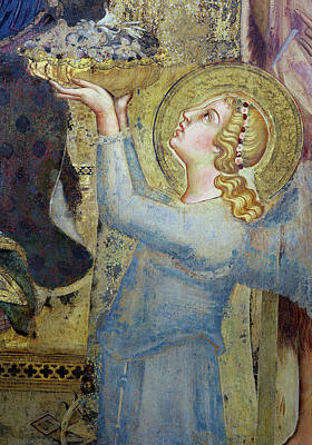 Maesta  Angel Offering Flowers To The Virgin Poster by Simone Martini