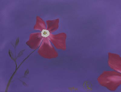 Magenta Flower On Plum Background Poster