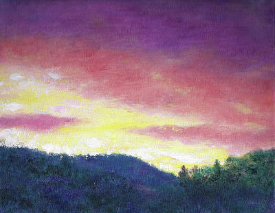 Poster featuring the painting Magenta Sunset Oil Landscape by Judith Cheng