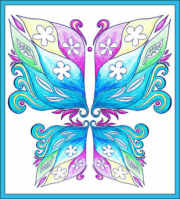 Magic Floral Butterfly Baby Blue Poster by Irina Sztukowski
