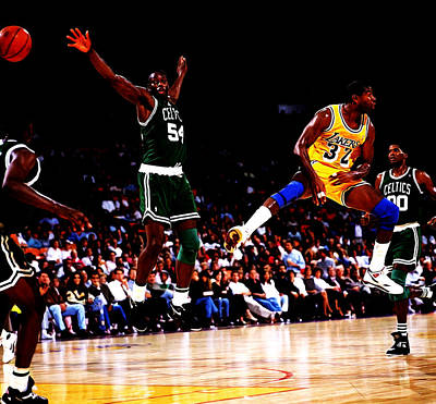 Magic Johnson No Look Pass 7a Poster by Brian Reaves
