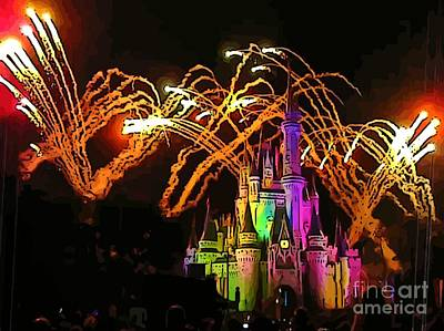 Magic Kingdom Fireworks Poster by John Malone