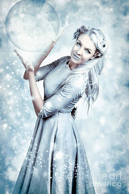 Magic Winter Woman In Luxury Fashion And Makeup Poster