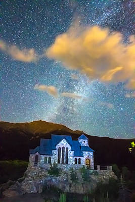 Magical Chapel On The Rock Milky Way Sky Poster