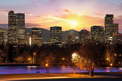 Magical Mountain Sunset - Denver Colorado Downtown Skyline Poster by Gregory Ballos