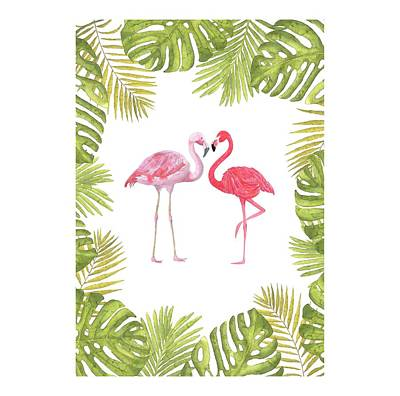 Poster featuring the painting Magical Tropicana Love Flamingos And Leaves by Georgeta Blanaru