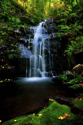 Magical Waterfall Above Spruce Falls In Tremont Smoky Mountains Tennessee  Poster