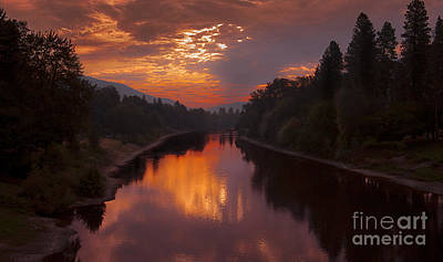Magnificent Clouds Over Rogue River Oregon At Sunset  Poster