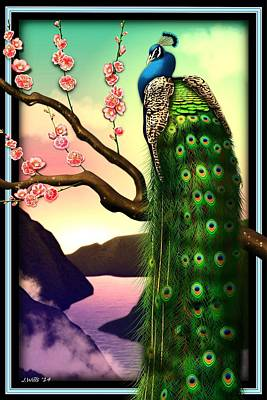 Magnificent Peacock On Plum Tree In Blossom Poster by John Wills