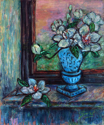 Poster featuring the painting Magnolias In A Blue Vase By The Window by Xueling Zou