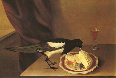 Magpie Eating Cake Rubens Peale Poster by MotionAge Designs