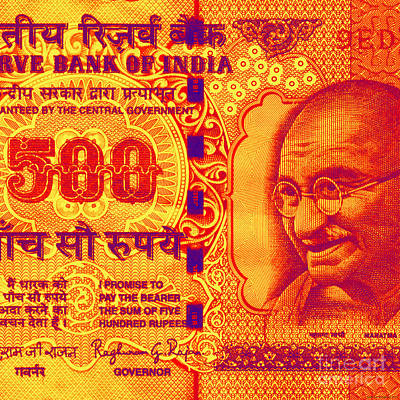 Poster featuring the digital art Mahatma Gandhi 500 Rupees Banknote by Jean luc Comperat