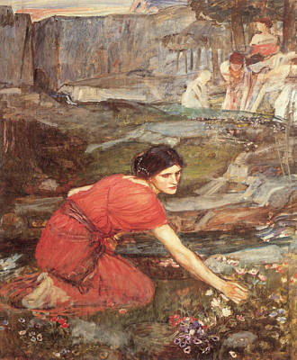 Maidens Picking Flowers By The Stream Poster by John William Waterhouse