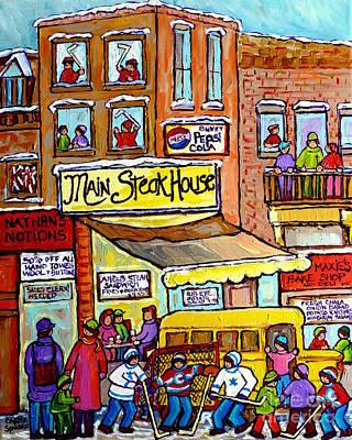 Main Steakhouse Montreal Memoriesjewish Inner City Scene Hockey Art Carole Spandau Winter  Paintings Poster by Carole Spandau