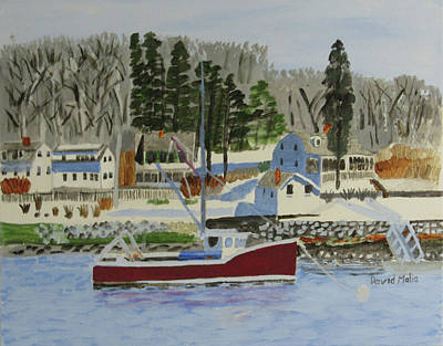 Maine Coast With Lobster Boat Poster