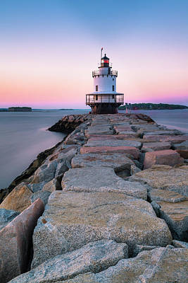 Poster featuring the photograph Maine Coastal Sunset Over The Spring Breakwater Lighthouse by Ranjay Mitra