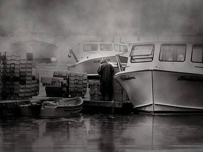 Maine Fog And Fisherman Poster by Bob Orsillo
