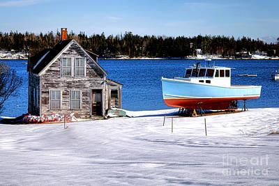 Maine Harbor Winter Scene Poster