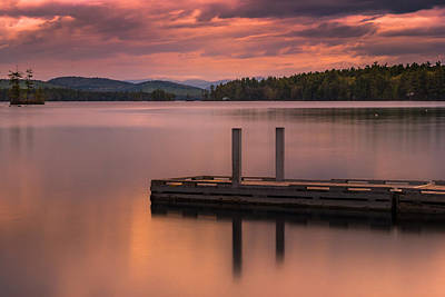 Maine Highland Lake Boat Ramp At Sunset Poster
