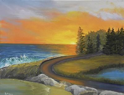 Maine Ocean Sunrise Poster