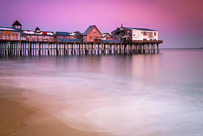 Poster featuring the photograph Maine Old Orchard Beach Pier Sunset  by Ranjay Mitra