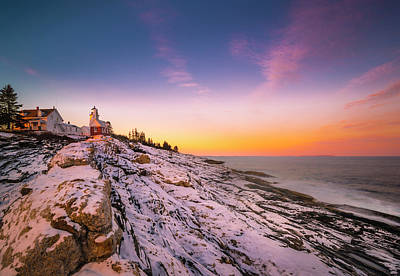 Poster featuring the photograph Maine Pemaquid Lighthouse In Winter Snow by Ranjay Mitra