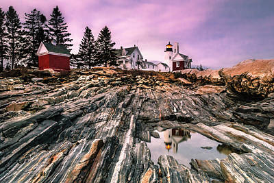 Maine Pemaquid Lighthouse Reflection In Summer Poster