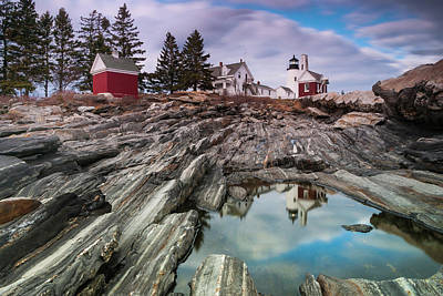 Maine Pemaquid Lighthouse Reflection Poster
