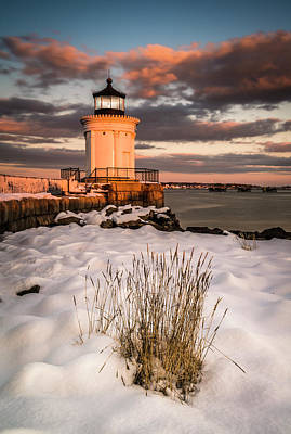 Maine Portland Bug Light Lighthouse Sunset  Poster
