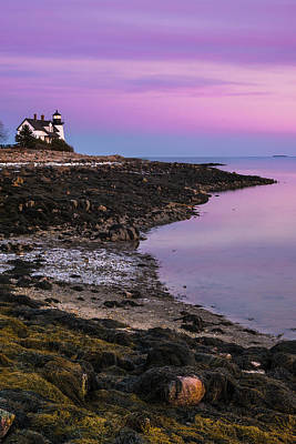 Poster featuring the photograph Maine Prospect Harbor Lighthouse Sunset In Winter by Ranjay Mitra