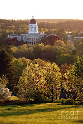 Maine State Capitol At Sunset Poster by Olivier Le Queinec