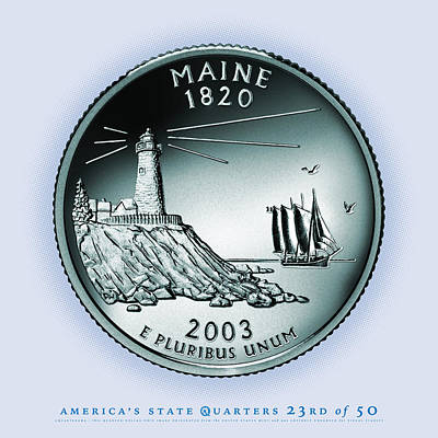 Maine State Quarter - Portrait Coin 23 Poster