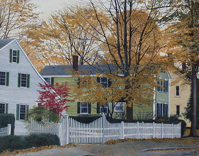 Autumn Day On Maine Street, Kennebunkport Poster by Barbara Barber