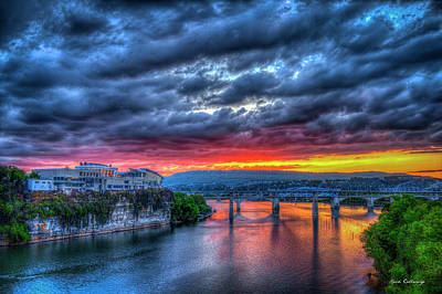Majestic Chattanooga Sunset Bridge Art Poster by Reid Callaway
