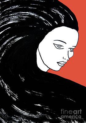 Majestic Lady J0715j Tangerine Tango Orange Pastel Painting 17-1463  E1523d F0532a Poster