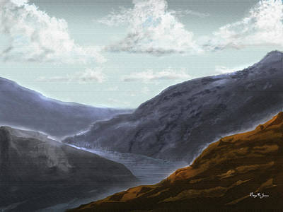 Poster featuring the digital art Majestic Outcrops by Barry Jones