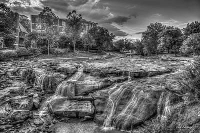 Majestic Reedy River Falls Bw Greenville South Carolina Art Poster