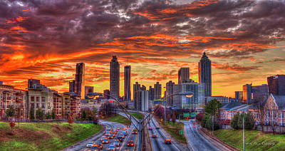 Majestic Rush Hour Atlanta Downtown Sunset Art Poster