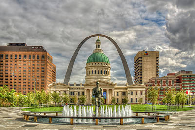 Majestic Sky St Louis Gateway Arch Old St Louis County Court House St Louis Missouri Art Poster